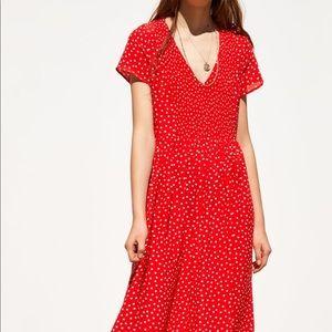 Zara Dresses - Zara Polka Dot midi dress v-neck smocked dress